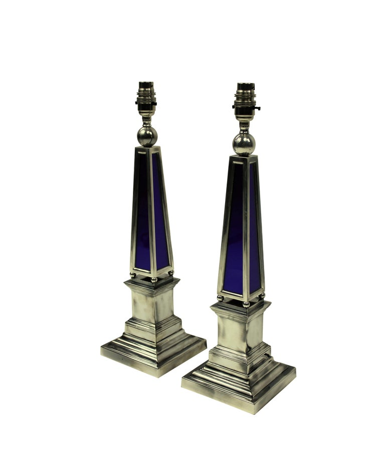 Contemporary Pair of Silver and Blue Glass Obelisk Lamps