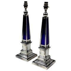 Pair of Silver and Blue Glass Obelisk Lamps