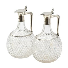 Pair of Silver and Crystal Atkin Brothers Hallmarked Claret Jugs, Sheffield 1889