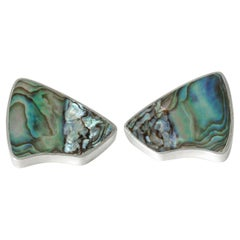 Pair of Silver and Mother of Pearl Earrings by Palle Bisgaard, Denmark, 1950s
