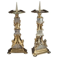 Pair of Silver and Rock Crystal Pricket Candlesticks, Continental, circa 1840