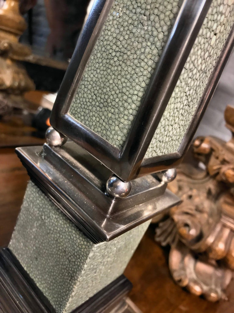 English Pair of Silver and Shagreen Obelisk Lamps