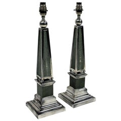 Pair of Silver and Shagreen Obelisk Lamps