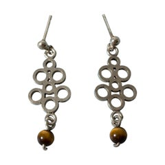 Pair of Silver and Tigereye Earrings by Cecilia Johansson, Sweden, 1972