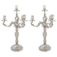 Pair of Silver Candelabras, Ernest Cardheilac, Paris, Late 19th Century