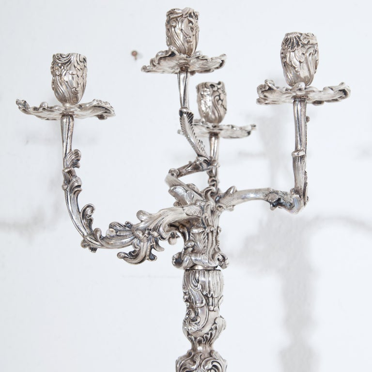 German Pair of Silver Candelabras, Mau, Dresden Second Half of the 19th Century For Sale