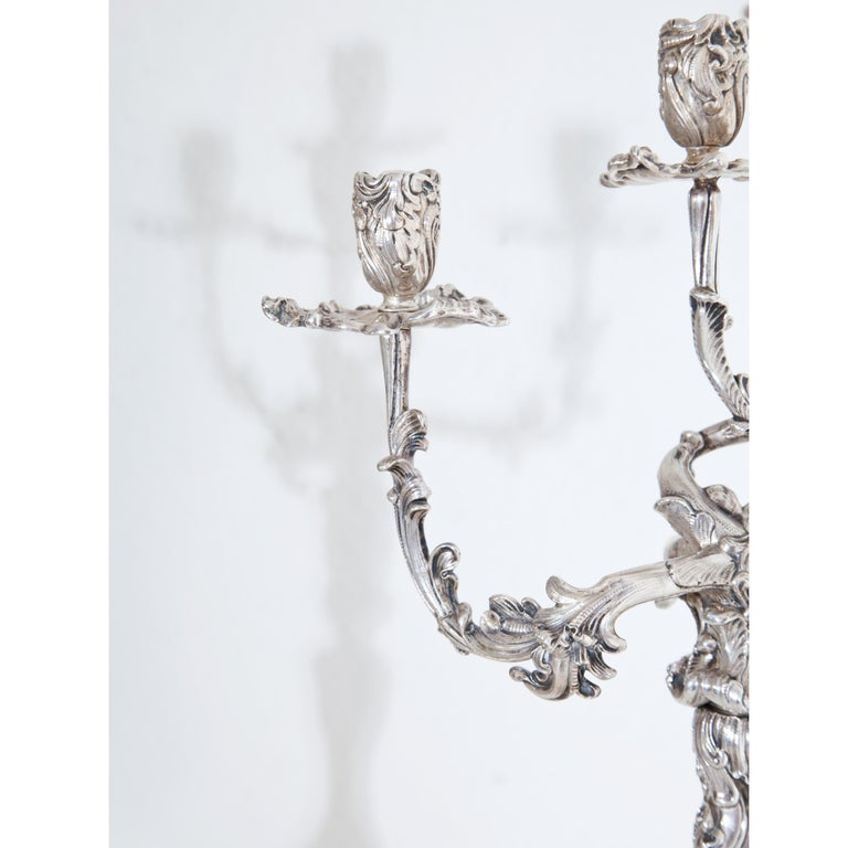 Pair of Silver Candelabras, Mau, Dresden Second Half of the 19th Century In Good Condition For Sale In Greding, DE