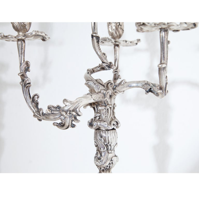 Pair of Silver Candelabras, Mau, Dresden Second Half of the 19th Century For Sale 1