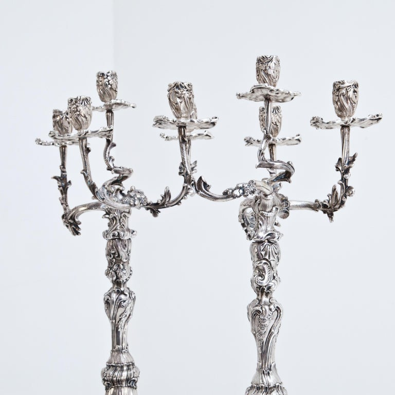 Pair of Silver Candelabras, Mau, Dresden Second Half of the 19th Century For Sale 4