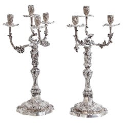 Pair of Silver Candelabras, Mau, Dresden Second Half of the 19th Century