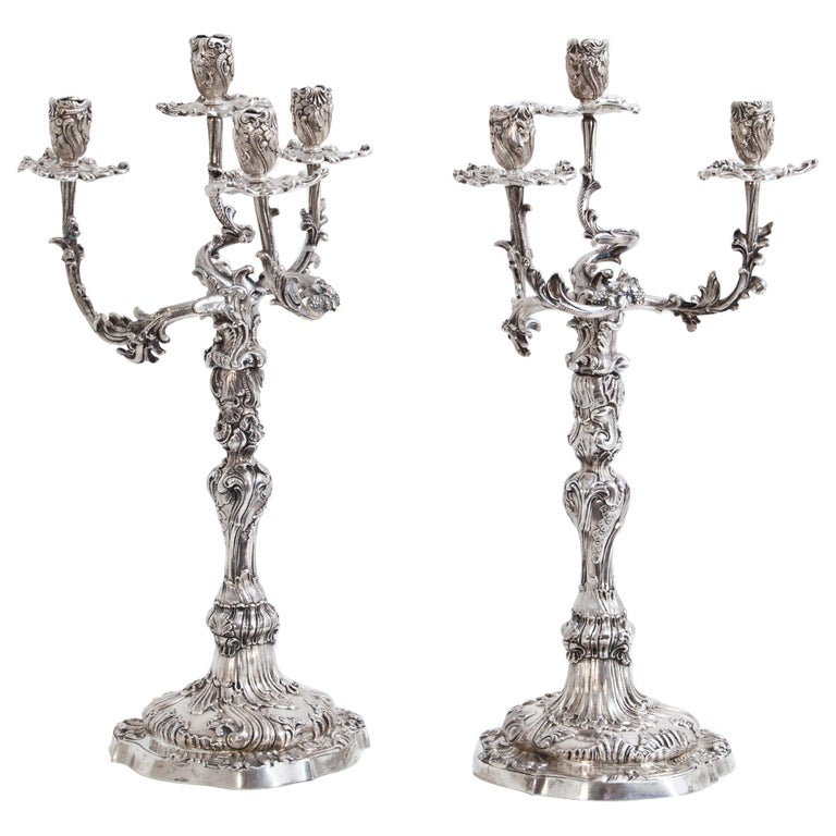 Pair of Silver Candelabras, Mau, Dresden Second Half of the 19th Century For Sale
