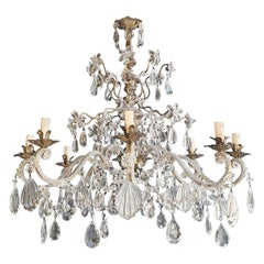 Pair of Silver Candelabrum Chandelier Crystal Antique Art Nouveau Pendant Light