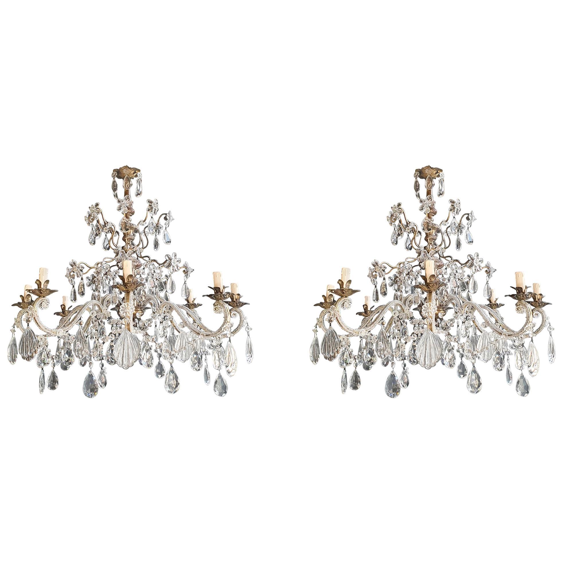 Pair of Silver Candelabrum Chandelier Crystal Antique Pendant Light