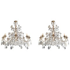 Pair of Silver Candelabrum Chandelier Crystal Antique Pendant Light