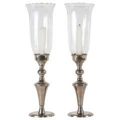Pair of Silver Candlestick Hurricanes