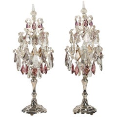 Pair of Silver Candlesticks Converted in Girandole Lamps Belgium, circa 1772