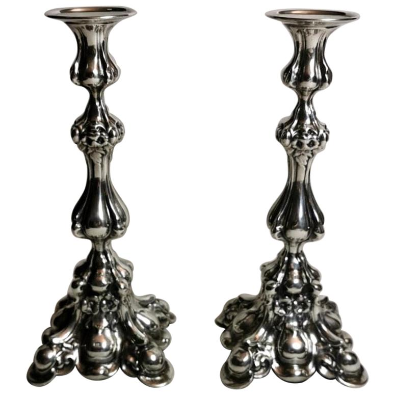 Italian Rococo Style Pair of Silver Candlesticks