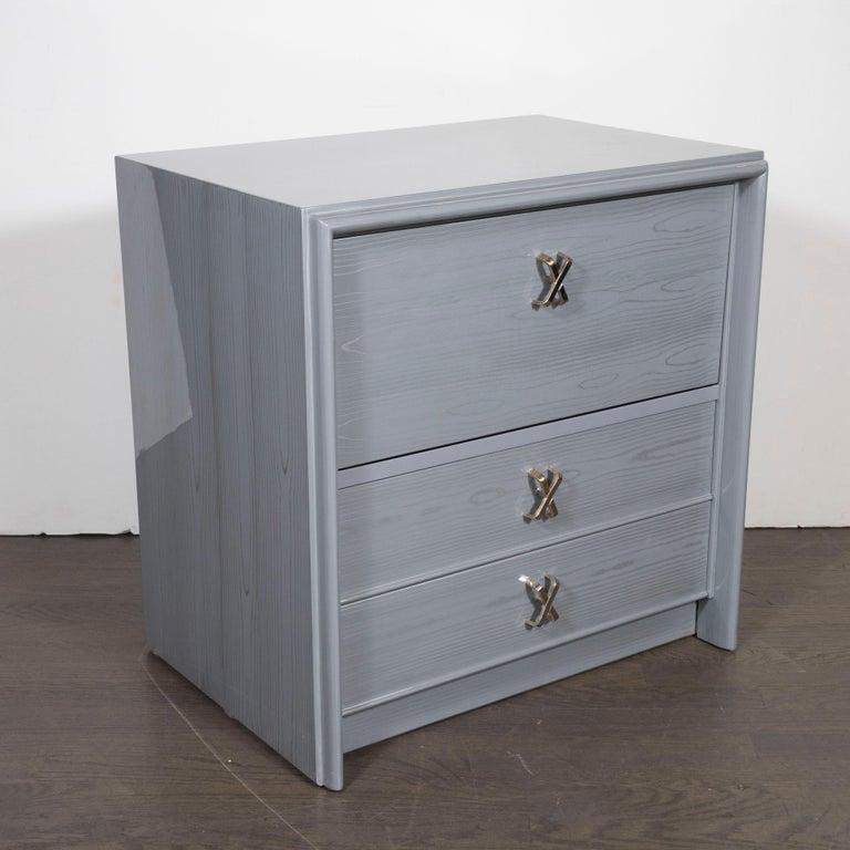 Mid-20th Century Pair of Silver Cerused Nightstands/End Tables Nickel