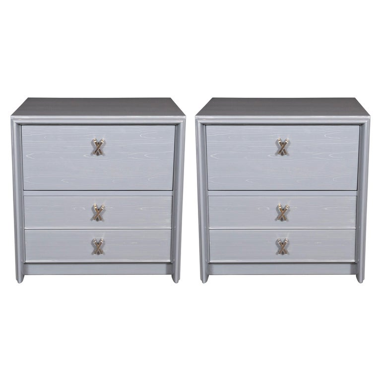 """Pair of Silver Cerused Nightstands/End Tables Nickel """"X"""" Fittings by Paul Frankl For Sale"""