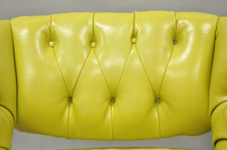 Naugahyde Pair of Silver Craft Green Yellow Swivel Club Lounge Chairs Mid-Century Modern A For Sale