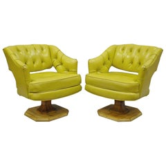 Pair of Silver Craft Green Yellow Swivel Club Lounge Chairs Mid-Century Modern A