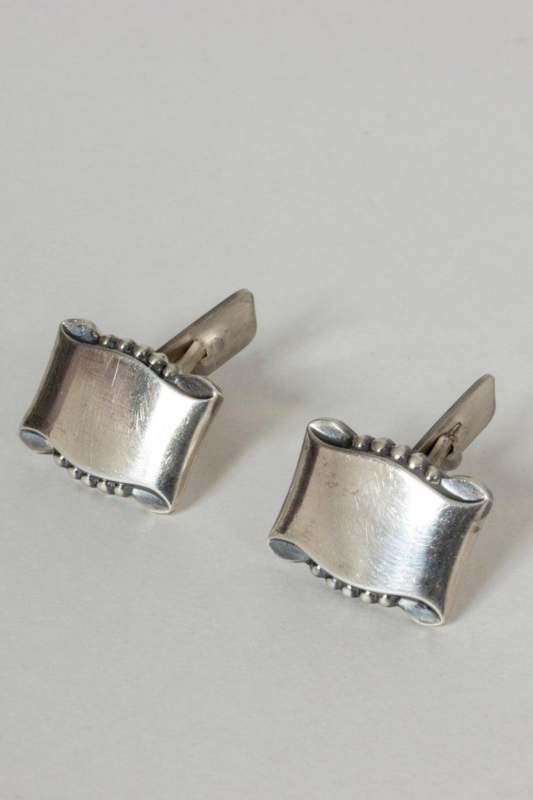 Modernist Pair of Silver Cufflinks from Gustaf Dahlgren & Co., Sweden, 1950s For Sale