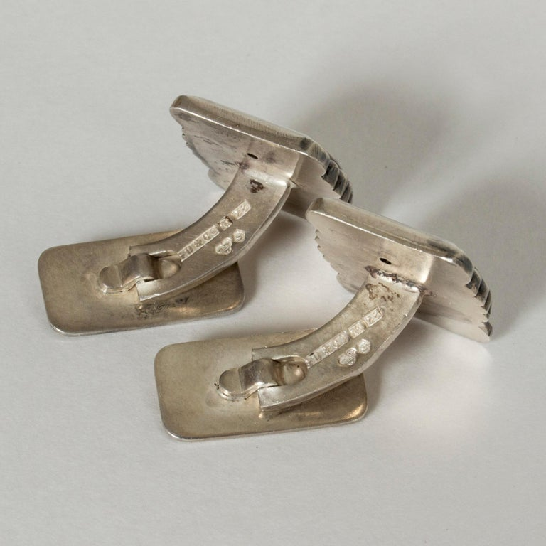 Women's or Men's Pair of Silver Cufflinks from Gustaf Dahlgren & Co., Sweden, 1950s For Sale