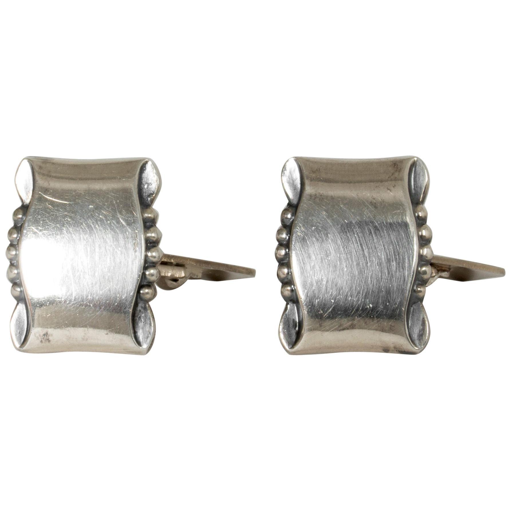 Pair of Silver Cufflinks from Gustaf Dahlgren & Co., Sweden, 1950s
