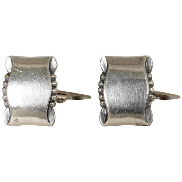 Pair of Silver Cufflinks from Gustaf Dahlgren & Co., Sweden, 1950s For Sale