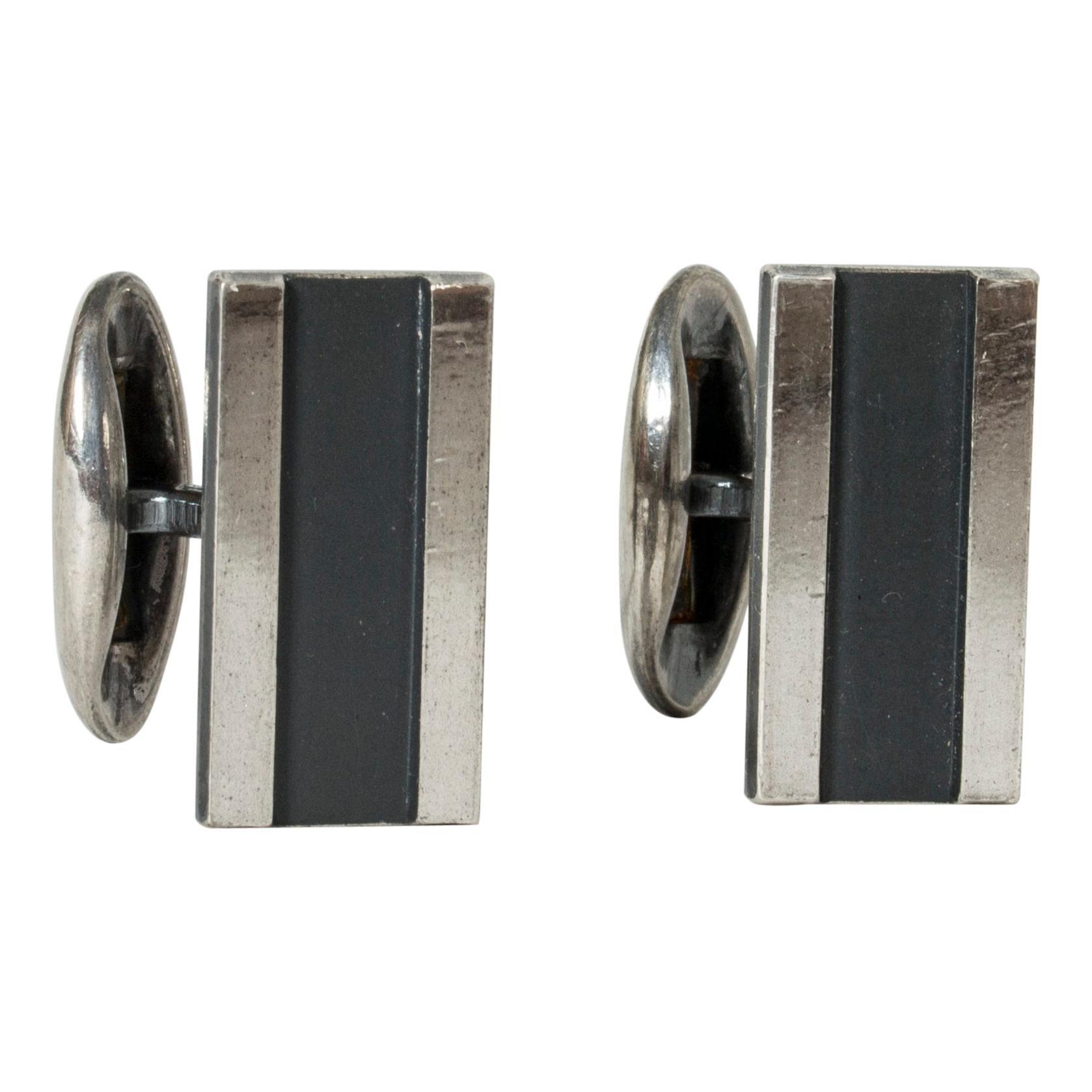 Pair of Silver Cufflinks from Sporrong, Sweden, 1970