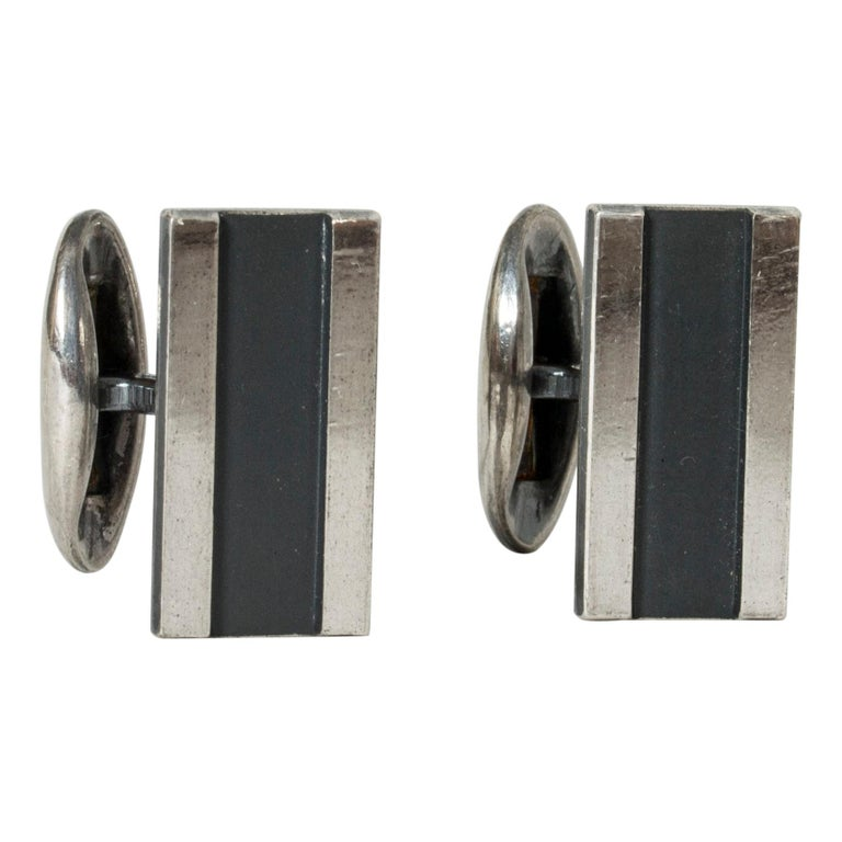Pair of Silver Cufflinks from Sporrong, Sweden, 1970 For Sale