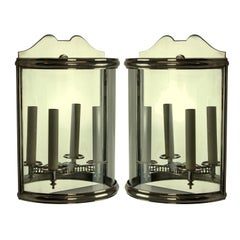 Pair of Silver Demilune Wall Lanterns