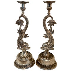 Pair of Silver Dolphin Candlesticks