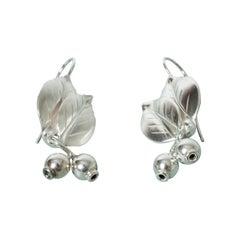 Pair of Silver Earrings by Gertrud Engel for Michelsen, Sweden, 1951
