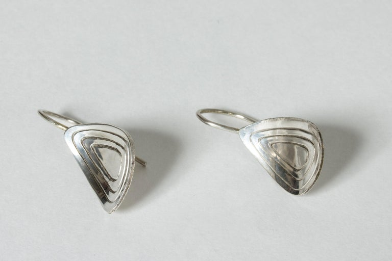 Modernist Pair of Silver Earrings from Alton For Sale