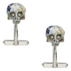 Pair of Silver, Enamel and Diamond Skull Cufflinks