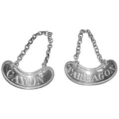 Pair of Silver George 111 Sauce Bottle Labels, London, Dated circa 1770