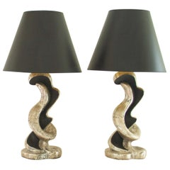 Pair of Silver Gilt and Ebony Lamps, 1950s