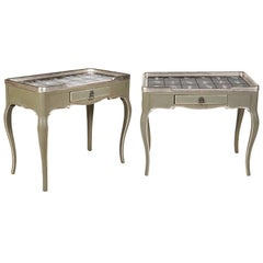 Pair of Silver Gilt and Paint Louis XV Style Tables with Hand Painted Tile Tops