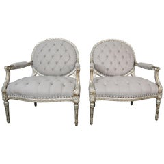 Pair of Silver Gilt Carved Neoclassical Style Armchairs