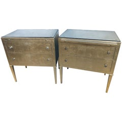 Pair of Silver Gilt Commodes Chest of Drawers or Nightstands Mid-Century Modern