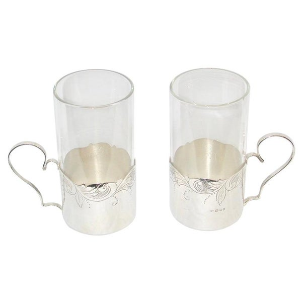Pair of Silver & Glass Lemon Tea Holders, 1925, London