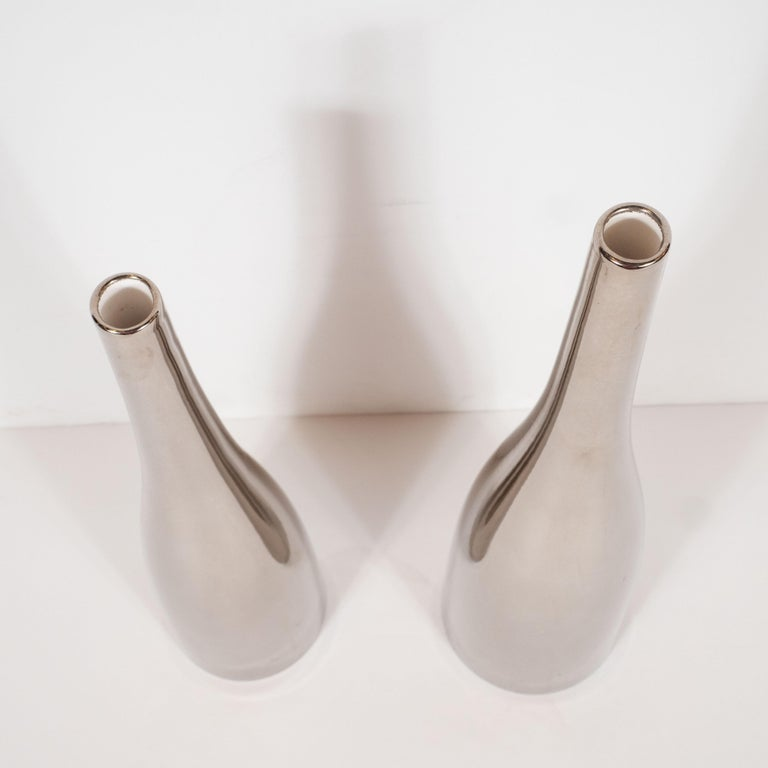 20th Century Pair of Silver Hued Ceramic Vases by Jacques Molin for Faiencerie de Charolles For Sale