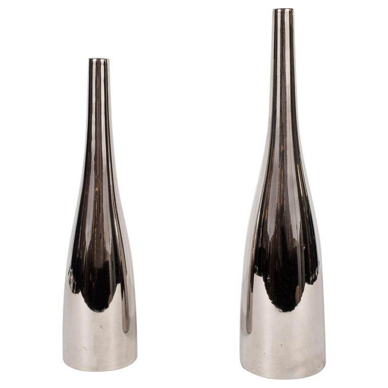 Pair of Silver Hued Ceramic Vases by Jacques Molin for Faiencerie de Charolles For Sale