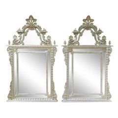 Pair of Silver Leaf Carved Italian Made LaBarge Mirrors, Circa 1970