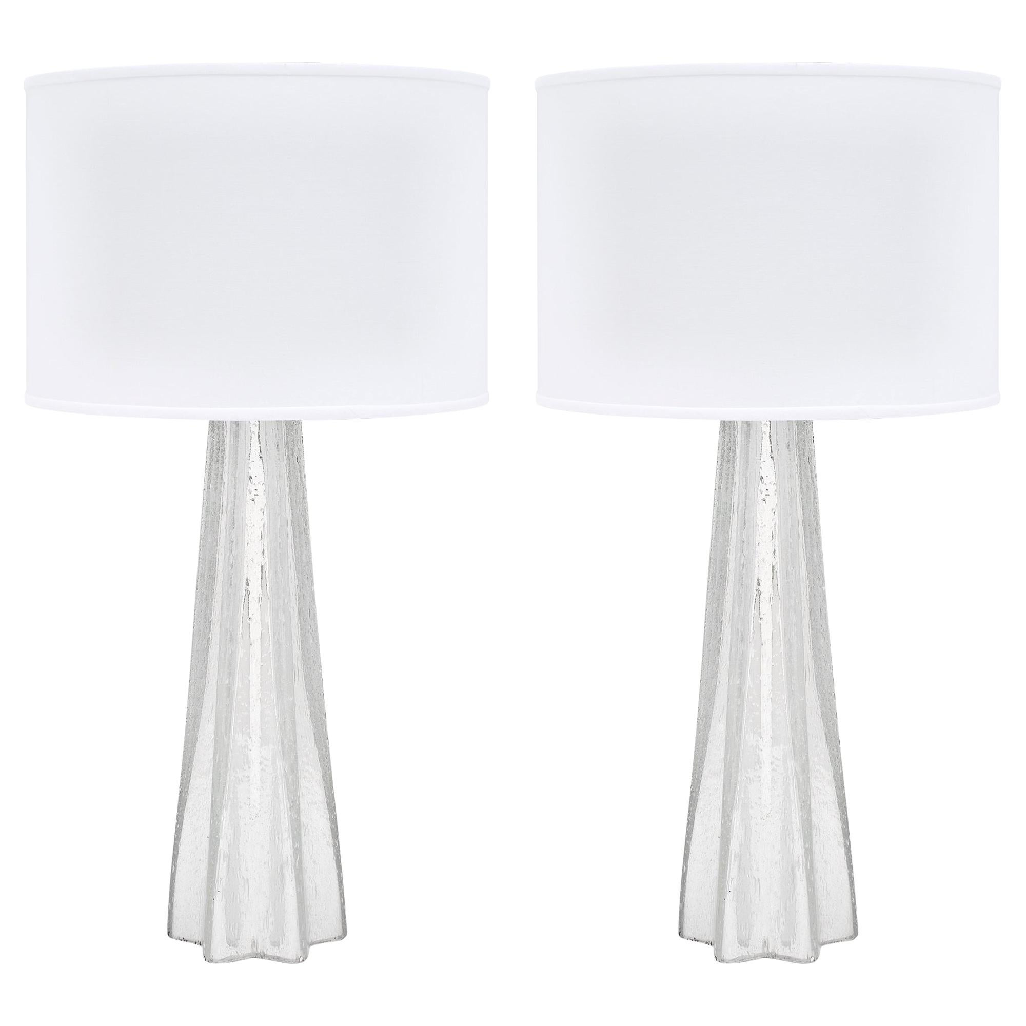"""Pair of Silver Leaf Murano """"Pulegoso"""" Glass Lamps"""