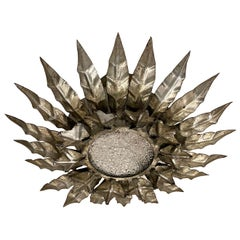 Pair of Silver Leaf Sunburst Light Fixtures, Sold Individually