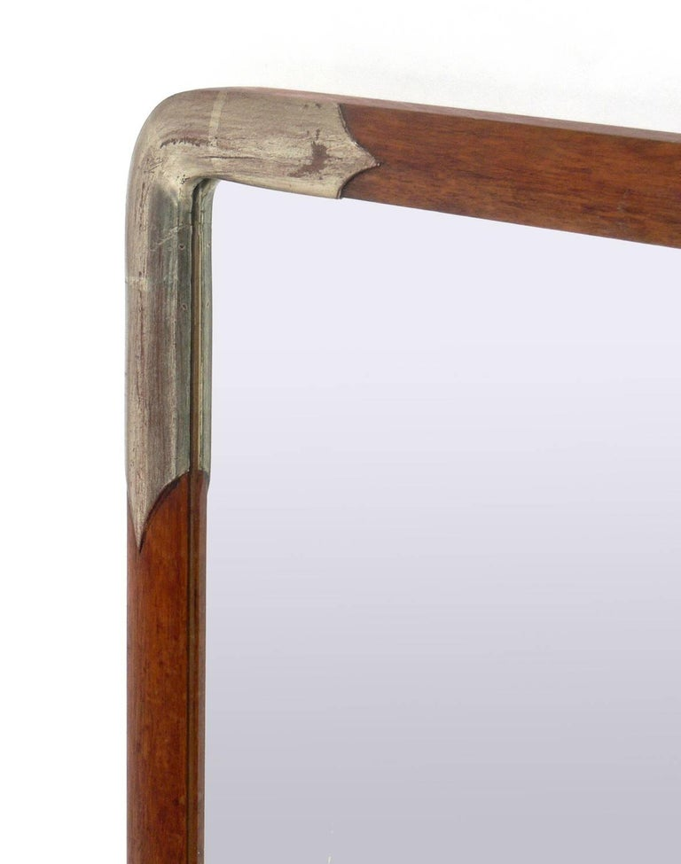 Chinoiserie Pair of Silver Leafed and Natural Wood Japanese Mirrors For Sale