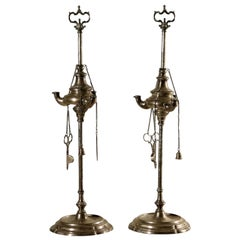 Pair of Silver Oil Lamps, Italy, 18th Century