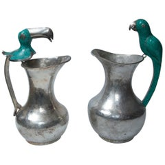 Pair of Silver on Copper Bird Handled Pitchers